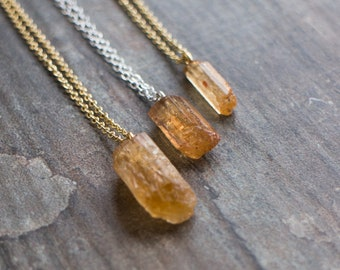 Raw Topaz Necklace - November Birthstone