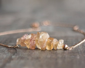 Raw Imperial Topaz Necklace - November Birthstone