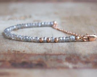 Labradorite Bracelet, Gift for Wife, Rose Gold Bracelet, Silver Bracelet, Gemstone Bracelet, Beaded Bracelet, Labradorite Jewelry, Mom Gift