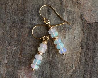 Fire Opal Drop Earrings - October Birthstone