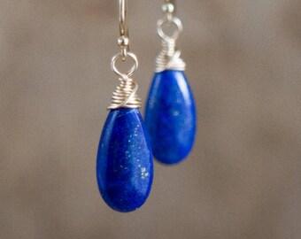 Lapis Lazuli Earrings, Gemstone Earrings, Dangle Earrings, Mothers Day, Gift for Her, Drop Earrings, Lapis Lazuli Jewelry, Blue Earrings