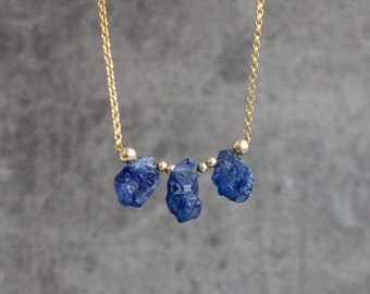 Raw Sapphire Trio Necklace - September Birthstone