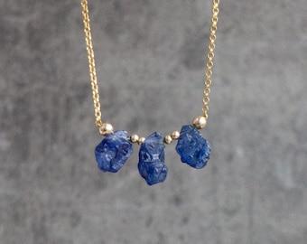 Raw Sapphire Trio Necklace - September Birthstone