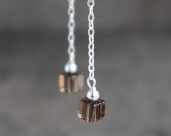 Tiny Smoky Quartz Drop Earrings