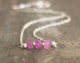 Pink Sapphire Three Wishes Necklace