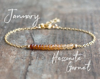 Hessonite Garnet Bracelet - January Birthstone