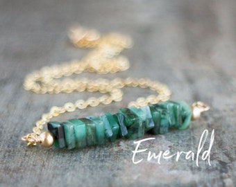 Square Bar Necklace - Emerald - May Birthstone