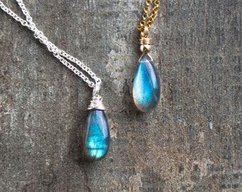 Blue Labradorite Teardrop Pendant Necklace