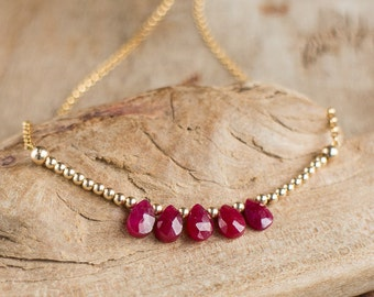 Genuine Ruby Necklace - July Birthstone