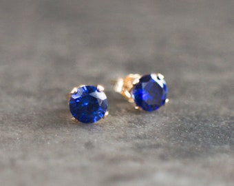 Blue Sapphire CZ Solitaire Stud Earrings