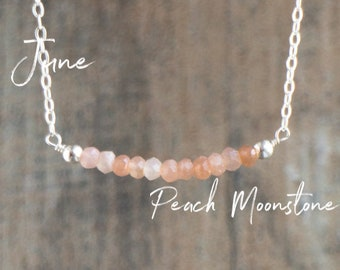 Peach Moonstone Bar Necklace