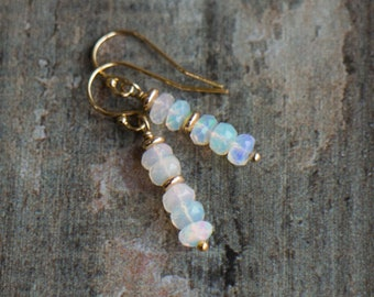 Fire Opal Drop Earrings - October Birthstone
