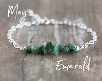 Raw Emerald Bracelet - May Birthstone