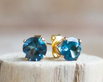 London Blue Topaz Stud Earrings - November & December Birthstone