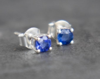 Blue Sapphire Silver Ear Studs - September Birthstone