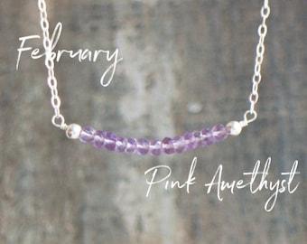 Pink Amethyst Bar Necklace