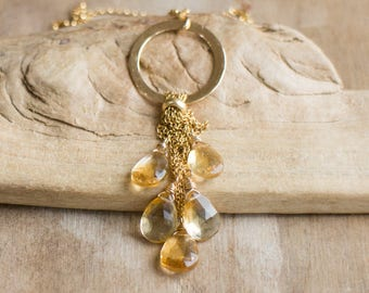 Citrine Cluster Gold Necklace - November Birthstone