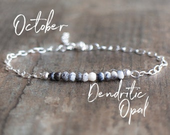 Dendritic Opal Bracelet - Dendritic Agate Bracelet - October Birthstone
