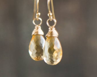 Wire Wrapped Citrine Earrings - November Birthstone