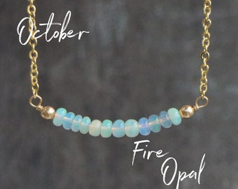 Opal Bar Necklace, October Birthstone Gift for Wife, Fire Opal Jewelry