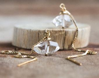 Herkimer Diamond Ear Threaders - April Birthstone