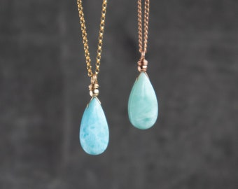 Larimar Tear Drop Pendant Necklace