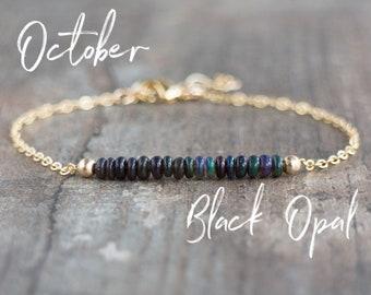Black Opal Bracelet - October Birthstone