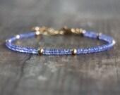 Tanzanite Bracelet Natural, Tanzanite Jewelry, Gemstone Bracelet, December Birthstone Bracelet, Tanzanite Beads Bracelet, Sterling Bracelet