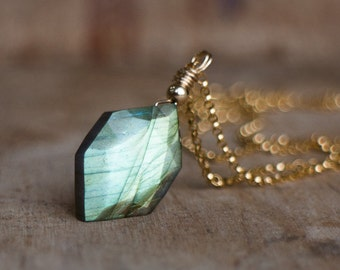 Geometric Labradorite Pendant Necklace