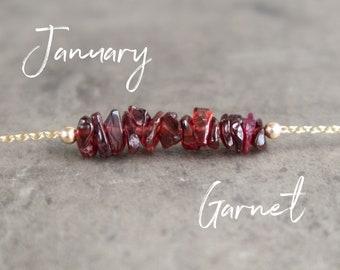 Raw Garnet Necklace - January Birthstone