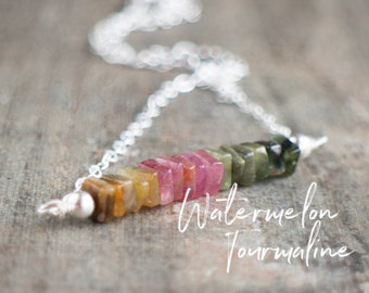 Square Bar Necklace - Watermelon Tourmaline - October Birthstone