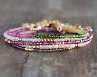 Dainty Gemstone Stacking Bracelets