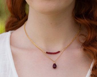 Ruby Pendant Necklace - July Birthstone