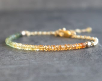 Green and Orange Sapphire Bracelet - September Birthstone