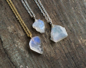 Raw Moonstone Necklace - June Birthstone