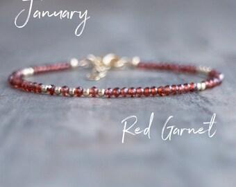 Red Garnet Bracelet - January Birthstone