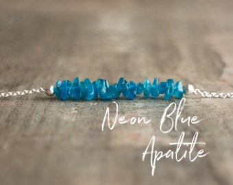 Neon Blue Apatite Necklace