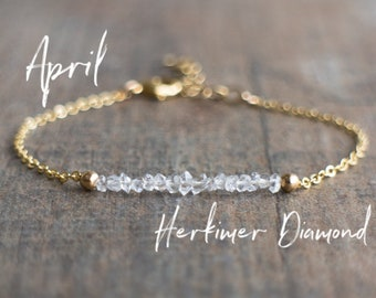 Herkimer Diamond Bracelet -  April Birthstone