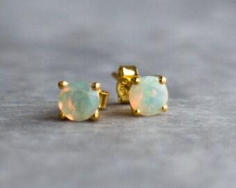 14K Gold Opal Ear Studs
