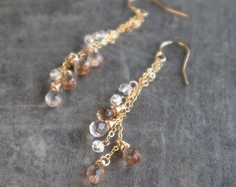 Imperial Topaz Long Dangle Earrings