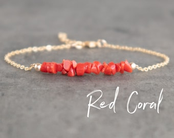Raw Red Coral Bracelet
