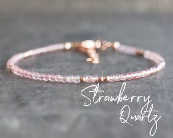 Dainty Strawberry Quartz Bracelet