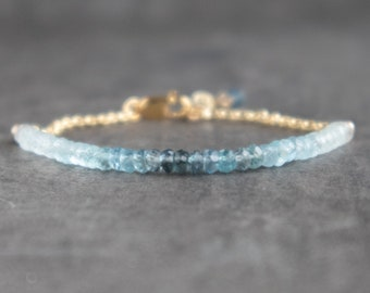 Ombre Aquamarine Bracelet - March Birthstone