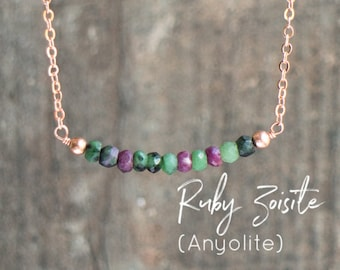 Ruby Zoisite Bar Necklace - Anyolite Necklace