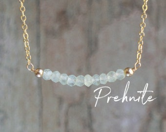 Prehnite Bar Necklace