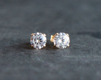 CZ Diamond Stud Earrings in Sterling Silver or Gold Filled