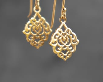 Moroccan Filigree Drop Earrings in 18K Gold Vermeil