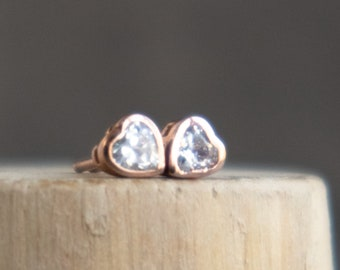 Tiny Heart Ear Studs in Rose Gold Vermeil with CZ Diamonds