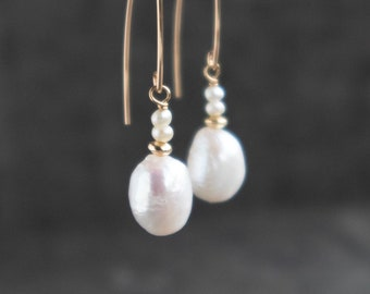 Organic Pearl Drop Earrings - June Birthstone