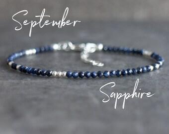 Dark Blue Sapphire Bracelet - September Birthstone